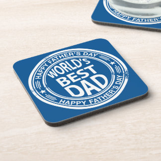 Father's day rubber stamp effect -white- coasters