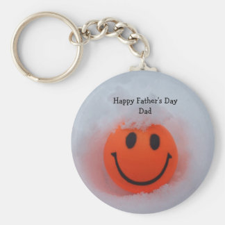 Father's day-Smiley Face in Snow Keychain