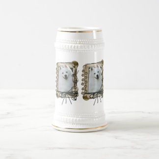 Fathers Day - Stone Paws - American Eskimo 18 Oz Beer Stein