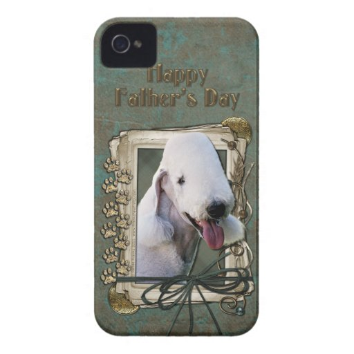 Fathers Day - Stone Paws - Bedlington Terrier iPhone 4 Case