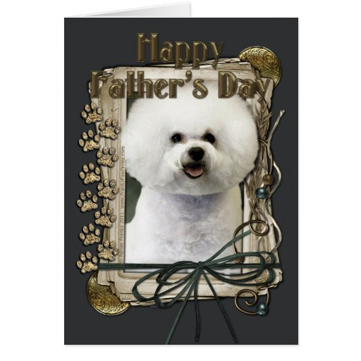Fathers Day - Stone Paws - Bichon Frise Greeting Cards
