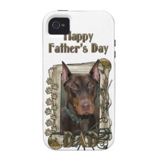 Fathers Day - Stone Paws - Doberman - Red Vibe iPhone 4 Cover