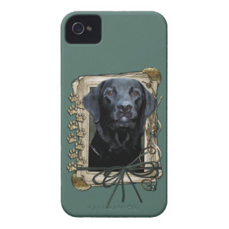 Fathers Day - Stone Paws - Labrador - Black iPhone 4 Case-Mate Case