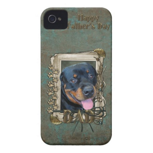 Fathers Day - Stone Paws - Rottweiler - Harley iPhone 4 Case-Mate Case