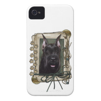 Fathers Day - Stone Paws - Schnauzer iPhone 4 Case-Mate Cases