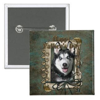 Fathers Day - Stone Paws - Siberian Husky Pinback Button
