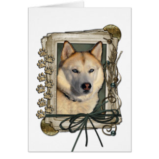 Fathers Day - Stone Paws - Siberian Husky - Copper Greeting Card