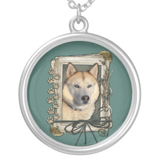 Fathers Day - Stone Paws - Siberian Husky - Copper Personalized Necklace