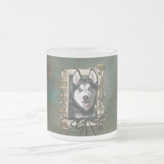 Fathers Day - Stone Paws - Siberian Husky Frosted Glass Coffee Mug