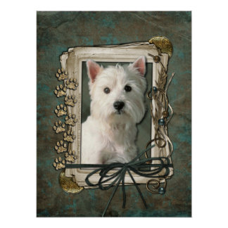 Fathers Day - Stone Paws - Westie Poster