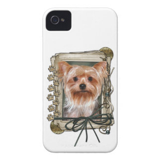 Fathers Day - Stone Paws - Yorkshire Terrier iPhone 4 Case