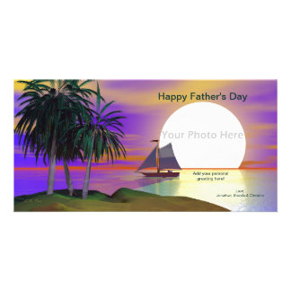 Father's Day Sunset Sail Photo Greeting Card