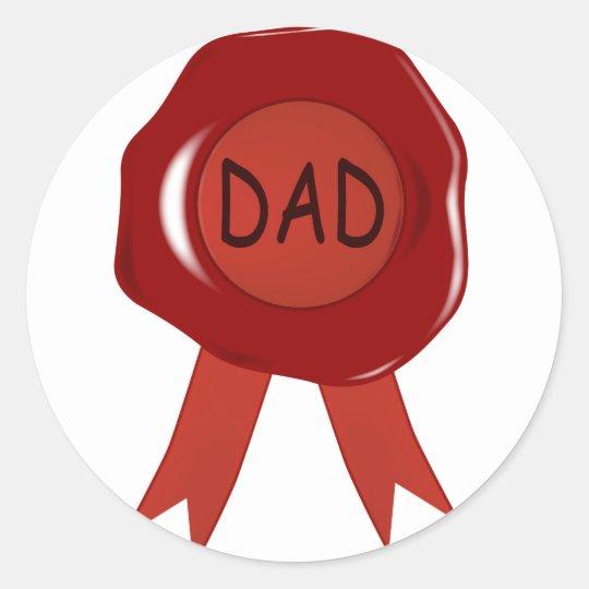 Fathers Day Wax Stamp Classic Round Sticker
