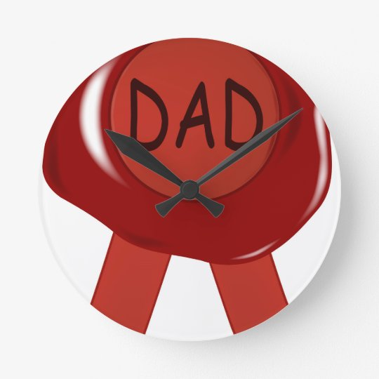 Fathers Day Wax Stamp Round Clock