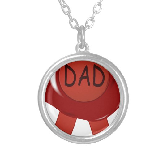 Fathers Day Wax Stamp Silver Plated Necklace