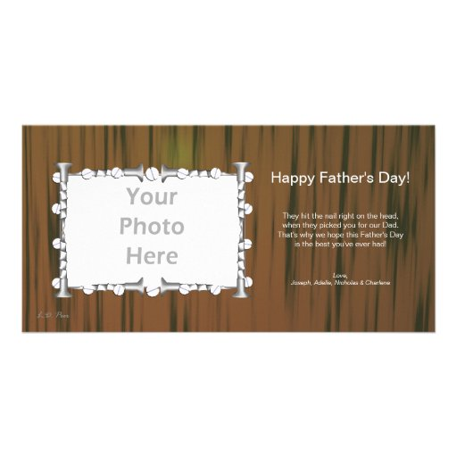 Father's Day Wood and Nails Photo Greeting Card