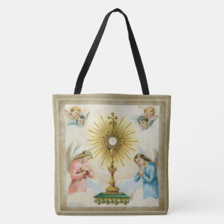 Fatima Angels Praying Eucharist Monstrance Tote Bag