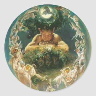 Faun and Fairies round sticker