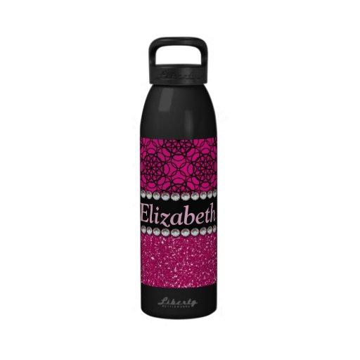 Fausses pierres roses et noires de scintillement bouteille d'eau