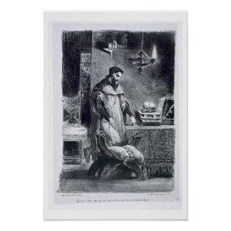 Faust in his Study, from Goethe's Faust, 1828, (il Poster