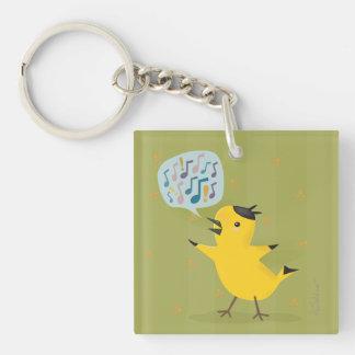 Fauvette Excited d'oiseau jaune mignon Porte-clé Carré En Acrylique Une Face