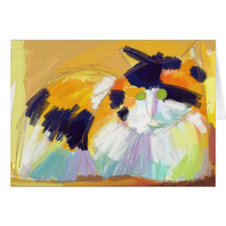 Fauvist Calico cat Card
