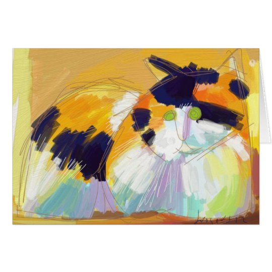 Fauvist Calico cat Greeting Card