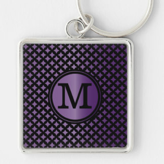 Faux Amethyst and black chic monogram Keychain