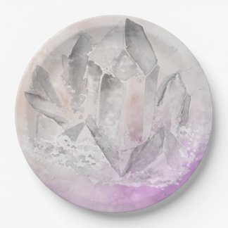 *~*  Faux Amethyst Crystal Healing Energy Chakra Paper Plate