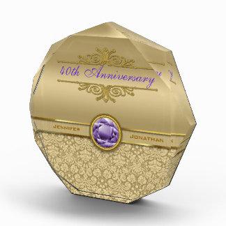 Faux Amethyst Gemstone Metallic Shiny Gold Damask