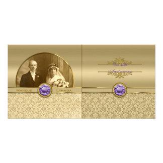 Faux Amethyst Gemstone Metallic Shiny Gold Damask Customized Photo Card