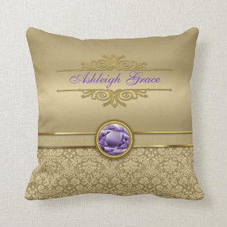 Faux Amethyst Gemstone Shiny Metallic Gold Damask Throw Pillow