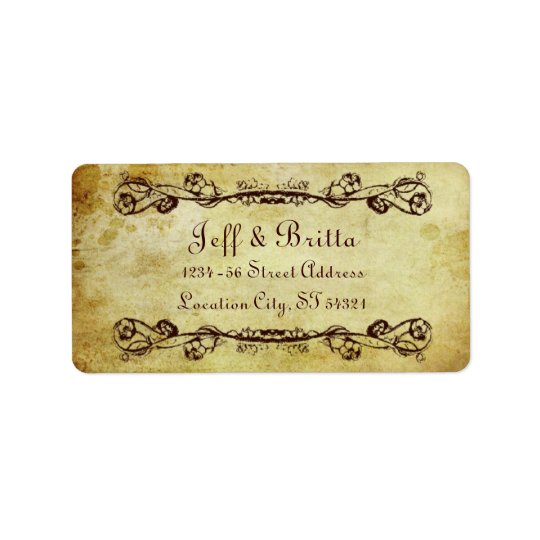 Faux Antique Gold Victorian Steampunk Wedding Label