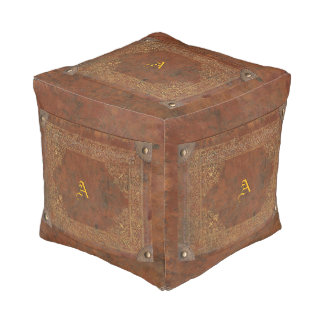 Faux Antique Leather Cube Pouf with Initial