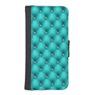 FAUX Aqua quilted leather, diamante iPhone SE/5/5s Wallet Case