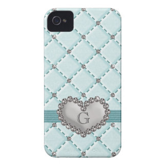 Faux Aqua Quilted Rhinestone Heart BlackBerry Bold Case-Mate iPhone 4 Cases