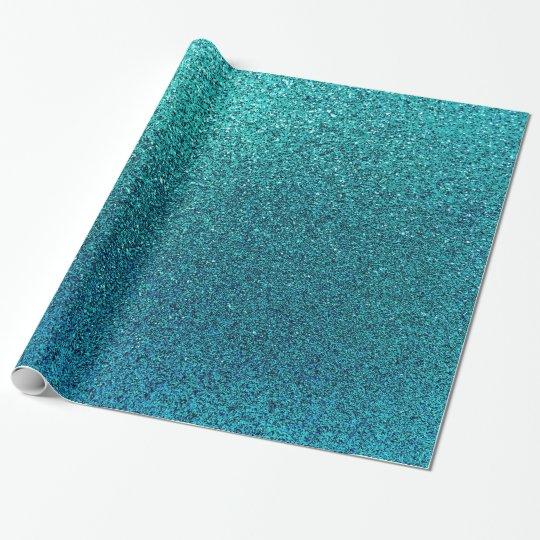 Faux Aqua Teal Turquoise Blue Glitter Background