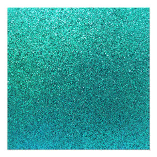 "Faux Aqua Teal Turquoise Blue Glitter Background 5.25"" Square Invitation Card"