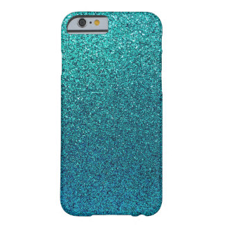 Faux Aqua Teal Turquoise Blue Glitter Background Barely There iPhone 6 Case