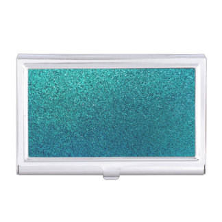 Faux Aqua Teal Turquoise Blue Glitter Background Business Card Holders