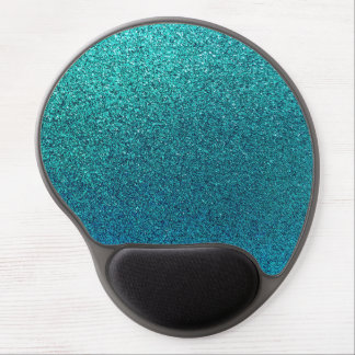 Faux Aqua Teal Turquoise Blue Glitter Background Gel Mouse Pad