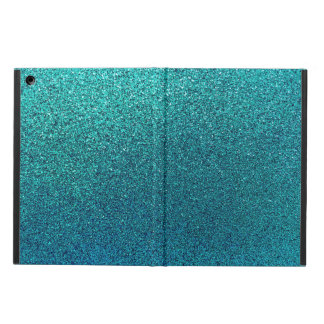 Faux Aqua Teal Turquoise Blue Glitter Background iPad Air Cover