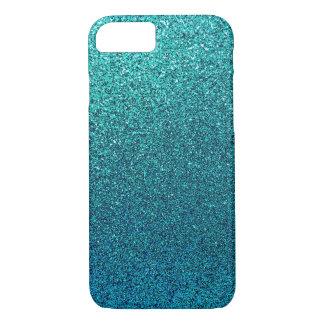 Faux Aqua Teal Turquoise Blue Glitter Background iPhone 8/7 Case