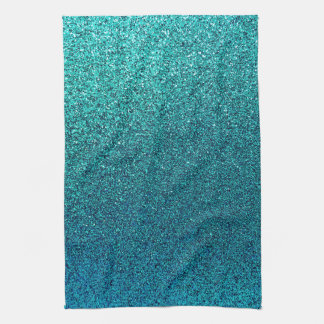 Faux Aqua Teal Turquoise Blue Glitter Background Kitchen Towel