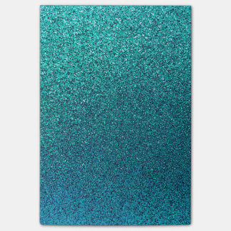 Faux Aqua Teal Turquoise Blue Glitter Background Post-It Note
