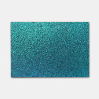 Faux Aqua Teal Turquoise Blue Glitter Background Post-it Notes