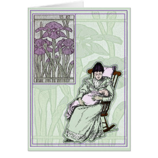 Faux Art Nouveau New Baby Greeting Card Card