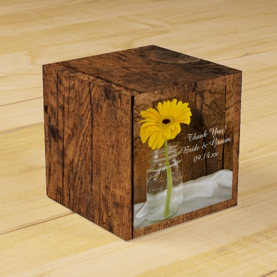Faux Barn Wood Mason Jar and Yellow Daisy Wedding Favor Box