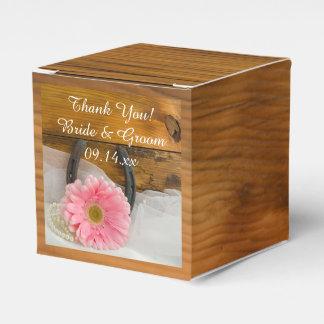Faux Barn Wood Pink Daisy and Horseshoe Wedding Favor Box