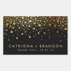 Faux Black and Gold Foil Confetti Favour Sticker